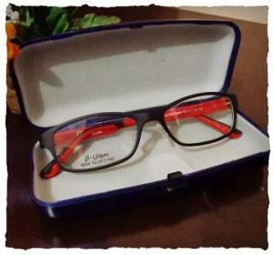 O óculos que escolhi. Veio  com esta caixinha azul.